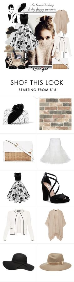 """""""audrey"""" by caroline-buster-brown ❤ liked on Polyvore featuring Philip Treacy, Wall Pops!, Nina, Paule Ka, The Row, rag & bone and JANE TAYLOR MILLINERY"""