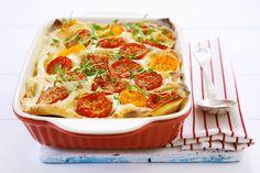 Lasagne mit Zucchini, Paprika, Tomate und Thymian