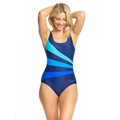 b4ee74783b178 Zoggs Sandon Scoopback Swimming Costume Blue Size UK 12 rrp 42 DH089 CC 16  #fashion