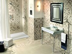 Cementine is a collection of rectified porcelain stoneware that translates all the charm of traditional decorated cement tiles into a contemporary language. Ideas Hogar, Bathroom Trends, Interior And Exterior, Interior Design, New Homes, Bathtub, Luster, House Styles, Home Decor