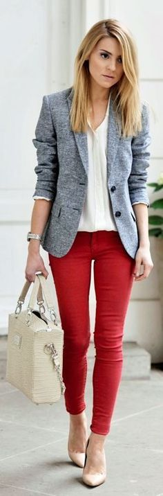Red jeans, white blouse under a grey jacket