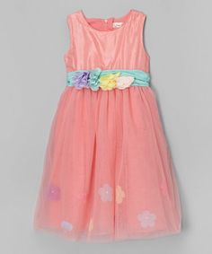Look what I found on #zulily! Pink Floral-Waist Dress - Toddler & Girls #zulilyfinds