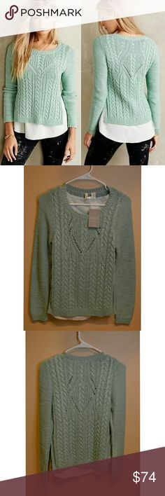 Anthropologie Moth Cable Knit Ella Pullover $118 NWT layered pullover sweater From Moth by Anthropologie Medium thread cable knit sweater with sewn in under tank to prevent see through between stitching of sweater Size medium Side slits  Retails $118 Anthropologie Sweaters Crew & Scoop Necks