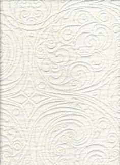 "Pike Coconut       See Coordinating Patterns Below !!!     Superbly stylish 100% Cotton allover repeat raised abstract swirl paisley pattern in a gorgeous white color. The versatile style of this fabric will compliment a variety of decorating styles. Preview this great fabric in your home with a sample cut.  Pattern:         Pike Coconut  Fiber Content  100% Cotton  Width             54 inches  Repeat           V 13.0 "" - H 13.5 ""  Applications:   Upholstery,Drapery,Bedding,Pillows…"