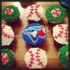 Blue Jay Baseball themed cupcakes Baseball Cupcakes, Baseball Party, Boy Birthday, Birthday Parties, Kid Parties, Birthday Ideas, Engagement Brunch, Anniversary Parties, 25th Anniversary