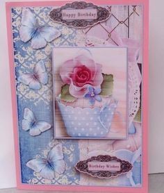 Cardtopper with matching envelope cupcake blue 641 on Craftsuprint designed by Gertraud Lueckel - made by Jenny Archer - I printed this lovely design onto good quality photo paper then mounted onto pink card leaving a border. I then added decoupage using 2 mm thick foam pads purchased from cup - Now available for download!