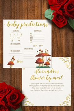Shop Baby predictions and advice, baby shower by mail created by LandofWhimsy. Baby Shower Invitations, Birthday Invitations, Bee Illustration, Baby Prediction, Hard Times, Baby Shower Games, Paper Texture, Gold Foil, Mom And Dad