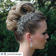 "Styled shoot done by our affiliate Jewel Hair Design, using our glamorous ""Spectacular"" rhinestone bridal hair comb & earrings. Lovely top knot vintage inspired bridal hairstyle."