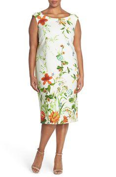 Gabby Skye Floral Print Scuba Sheath Dress (Plus Size)