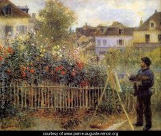 This painting is NOT by Monet, but rather by Renoir of Claude Monet Painting In His Garden At Argenteuil. A close look along the left reveals the words that it is a Renoir.