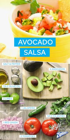 Mix chopped avocado, red onion, jalapeño, and cilantro in a bowl with lime juice, and diced tomatoes. Great for backyard BBQs and summer parties. Guacamole Recipe, Avacado Salsa, Avocado Dip, Great Recipes, Favorite Recipes, Healthy Snacks, Healthy Recipes, Partys, Sauces