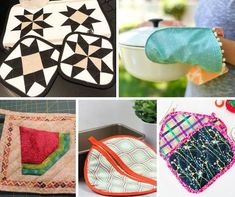 Start sewing for your kitchen with these creative pot holder patterns. Sewing Tutorials, Sewing Projects, Sewing Patterns For Kids, Organizing Your Home, Free Sewing, Pot Holders, Quilts, Blanket, Creative