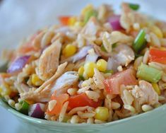 A great group-pleasing salad made with orzo, rice shaped pasta, tomatoes, corn, and chicken tossed with a light Southwestern lime vinaigrette. Click here to see 10 Easy Summer Chicken Recipes Click here to see 101 Ways to Cook Chicken