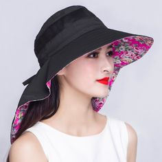 Riding plain sun protection hat for women with cloak design