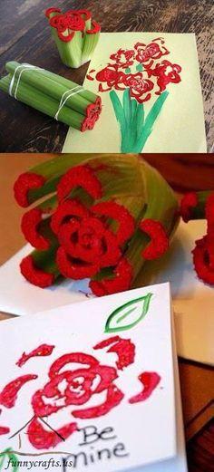us wp-content uploads 2015 12 fun_to_print_flower_shapes_using_unconventional_items. Valentine's Day Crafts For Kids, Valentine Crafts For Kids, Mothers Day Crafts, Toddler Crafts, Preschool Crafts, Projects For Kids, Holiday Crafts, Fun Crafts, Arts And Crafts