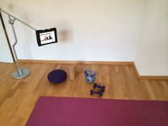 FLOTE iPad Stands in the home gym (user photo) Learn more at www.FloteYourTablet.com