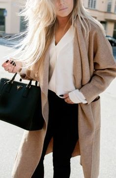 camel, white & black fall outfit