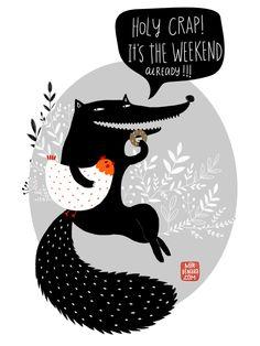 wolf illustration by dinara mirtalipova  via mirdinara