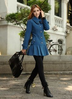 Magnificent Pleated Single Breasted Women Woolen Trench Coat on BuyTrends.com, only price $41.40