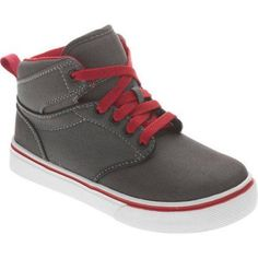 Faded Glory Boys Canvas Hi-Top Shoe, Size: 1, Red