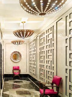 Viceroy Hotel Elevator Vestibule. Kelly Wearstler is so talented. Love the lights