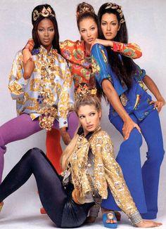 Naomi Campbell, Christy Turlington, Yasmeen Ghuri, and Stephanie Seymour for Versace