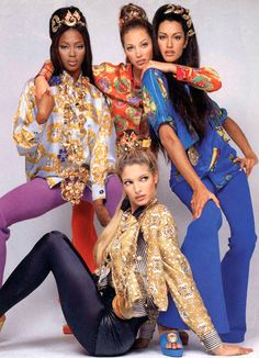 Models : Naomi Campbell, Christy Turlington, Stephanie Seymour and Yasmeen Ghauri  For : Versace