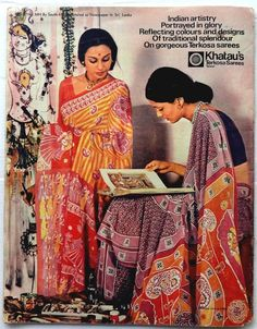 Some of the most beautiful moments in a woman's life are shared by Khatau. Advertisement byline for Khatau, late 1970s/1980s.  The 1970s also saw a lot of famous mill brands for sarees: Bombay Dyeing, Vimal, Mafatlal and Khatau amongst others. For my money, Khatau Terkosa was the most innovative of these in terms of easy care fabrics for the Indian weather combined with an aesthetic that was modern and classic Indian.