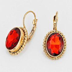 "Women's Gold Tone Red Oval Crystal Drop Earrings. Size : 1/2"" W, 1 1/4"" L. WT001 http://www.amazon.com/dp/B0149AMXYC/ref=cm_sw_r_pi_dp_V-7qwb1QJF2KJ"