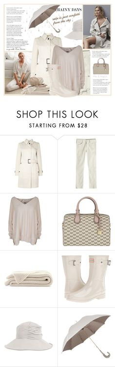"""""""Rainy Days: Cosy with Toni Garrn"""" by gerdav ❤ liked on Polyvore featuring Zara Home, ADAM, Aquascutum, Mother, Max & Moi, MICHAEL Michael Kors, Hunter, Guide London, Totes and Pasotti Ombrelli"""