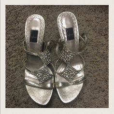 Glint sparkle and gem gold shoes Sparkle strappy heels, perfect for a night out. Like new condition Glint Shoes Heels