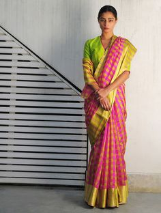 Neon Pink Lime Jhilmil Chanderi Handwoven Saree By Raw Mango
