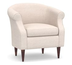Lyndon Upholstered Armchair | Pottery Barn Free Interior Design, Interior Design Services, Upholstered Arm Chair, Armchair, Swivel Chair, Living Room Chairs, Living Room Furniture, Space Furniture, Furniture For Small Spaces