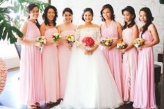 The bridesmaids wore blush long dresses with different necklines for the occasion. Bridesmaids, Bridesmaid Dresses, Wedding Dresses, Different Necklines, Long Dresses, Ph, Wedding Planner, Blush, Wedding Ideas