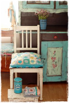 kitchen crochet pillow and old painted furniture