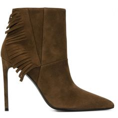 Saint Laurent Fringed Ankle Boots (€835) ❤ liked on Polyvore featuring shoes, boots, ankle booties, brown, pointed toe booties, brown booties, brown fringe boots, suede fringe boots and high heels stilettos