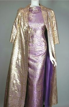 1930s metallic gold and lilac silk brocade evening gown and coat ensemble.