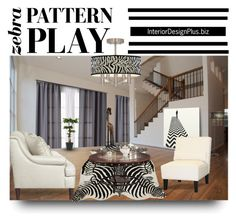 """Zebra Pattern Play"" by lanaterra ❤ liked on Polyvore featuring interior, interiors, interior design, home, home decor, interior decorating, Amara, Miller Curtains, Poundex and Pier 1 Imports"