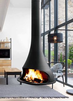 JC BORDELET : suspended fireplace, wall fireplace & modern stoves Suspended Fireplace, Hanging Fireplace, Freestanding Fireplace, Stove Fireplace, Wood Fireplace, Modern Fireplace, Fireplace Design, Scandinavian Fireplace, Chimenea A Gas Natural