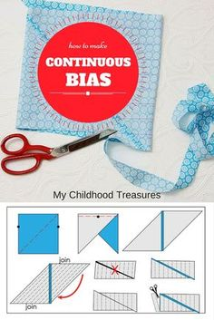 Learn the simplest way to make continuous bias tape with my step by step instructions. Free online sewing course by MCT