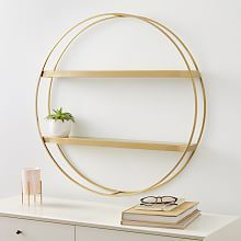 "Aug 18, 2020 - This shelf is certainly a statement piece, but functionality is definitely not sacrificed because of it. Great for decorating your bathroom and pairing with West Elm's many bath accessories. KEY DETAILS • 30""w x 3.5""d x 30&a Gold Shelves, Metal Shelves, Hanging Shelves, Display Shelves, Mirror With Shelf, Mirror Wall Art, Circle Wall Shelf, Diploma Display, Shelves Above Toilet"