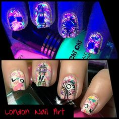 """Very cool """"London"""" inspired Nail Art, including under a UV light"""
