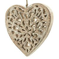 by Sainsbury's Wooden Carved Heart