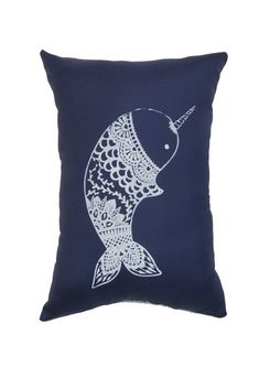 """Hand Printed on Upcycled Fabric Navy  """"Nellie the Narwhal"""" Original Design Hand Sewn Pillow with Dried Lavender Flowers in the Stuffing #NellietheNarwhal #Narwhal #Tibet #Narwhale #UnicornoftheSea #Unicorn #Tusk #pillow #Monodon #monoceros #lavenderflower #Greenland"""