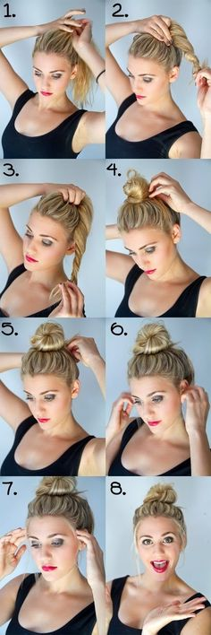 Bun Hairstyles with 1 Minute - A bun was basically made for dirty hair. A bun is the best and easiest way to get your hair out of your face and to make it look polished even when it's greasy. Hair Salons www. Diy Hairstyles, Pretty Hairstyles, Hairstyle Tutorials, Hairstyle Ideas, Bun Tutorials, Hairstyles 2018, Latest Hairstyles, Celebrity Hairstyles, Wedding Hairstyles