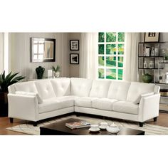 Peever White Sectional Sofa Furniture Of America Sectional Sofas White Sectional Sofa, Living Room Sectional, Modern Sectional, Leather Sectional, Living Rooms, Condo Living, Living Furniture, Sofa Furniture, Furniture Stores