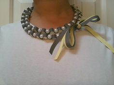 yellow and gray pearl bead ribbon necklace