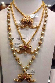 Jewellery Designs: Puligoru Designs with Pearls Chains Kids Gold Jewellery, Mens Gold Jewelry, Indian Jewellery Design, Kids Jewelry, Pearl Jewelry, Pendant Jewelry, Silver Jewelry, Silver Rings, Handmade Jewellery