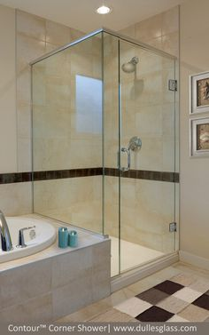 The semi-frameless Contour shower door from Dulles Glass is a budget-friendly shower enclosure option.