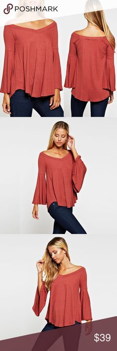 """V Neck Off The Shoulder Dark Brick Bell Sleeve Top ❤️ BUNDLES ❤️ DISCOUNTS ❌ NO TRADES ❌ NO Low balling!  • Dark Brick/ orange  • PLEASE READ MEASUREMENTS!  * MEASUREMENTS: • SMALL: - Length: 26"""" Approx - Bust: 35"""" Approx • • MEDIUM: - Length: 26.5"""" Approx - Bust: 36.5"""" Approx • • LARGE: - Length: 27.75"""" Approx - Bust: 38"""" Approx • * MATERIAL: - 96% Rayon - 4% Spandex Tops Tees - Long Sleeve"""